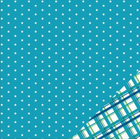 Aqua Stars Double Sided 12x12 Scrapbooking Paper