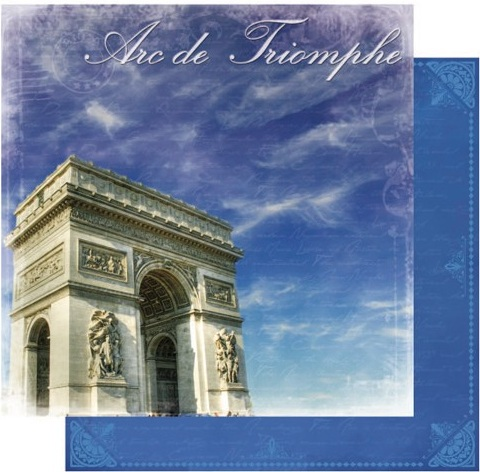 Arc de Triomphe 12x12 Double Sided Glittered Scrapbooking Cardstock