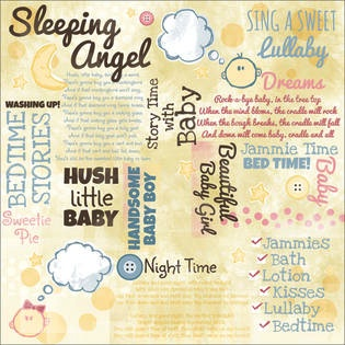 Baby Bedtime Collage 12x12 Scrapbooking Paper