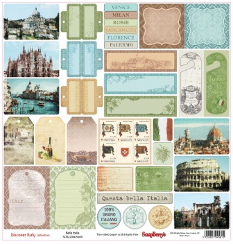 Bella Italia Double Sided 12x12 Scrapbooking Paper