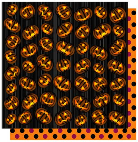 Beware of Pumpkins 12x12 Double Sided Glittered Scrapbooking Cardstock