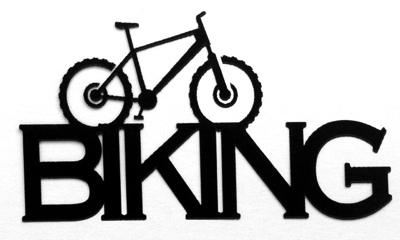 Biking Scrapbooking Laser Cut Title with Bike