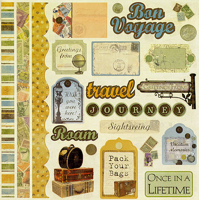 Bon Voyage 12x12 Cardstock Scrapbooking Stickers with Varnish