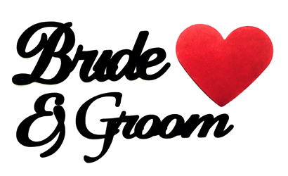 Bride and Groom Scrapbooking Laser Cut Title with Heart