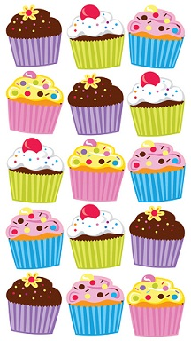 Bright Cupcakes Glittered Scrapbooking Stickers