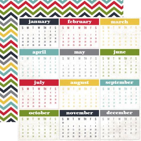 Calendar Months Double Sided 12x12 Scrapbooking Paper