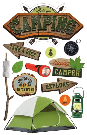 Camping 3D Scrapbooking Glitter Stickers
