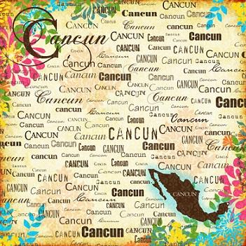Cancun Paradise Collage 12x12 Scrapbooking Paper