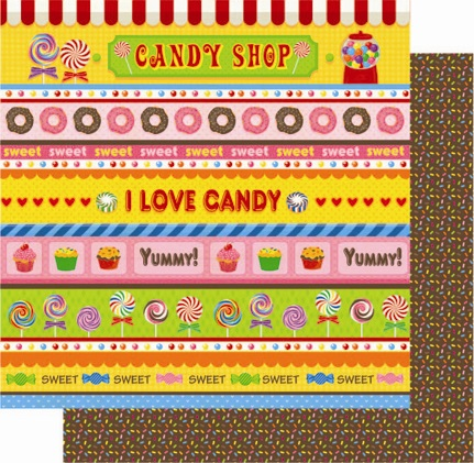 Candy Shop Stripes 12x12 Double Sided Glittered Scrapbooking Cardstock