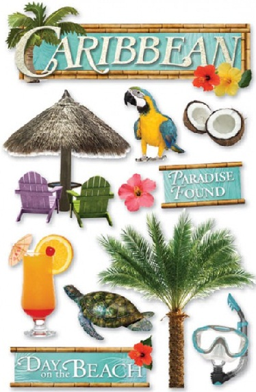 Caribbean 3D Glitter Scrapbooking Stickers