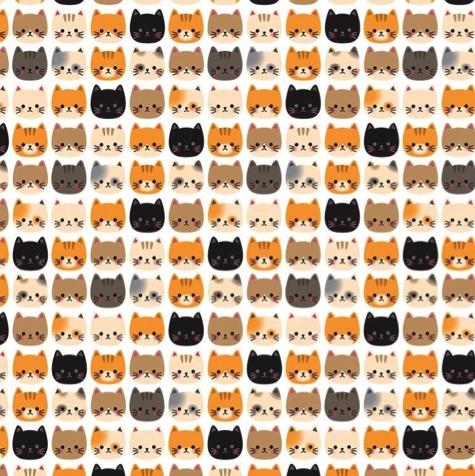 Cat Faces 12x12 Scrapbooking Paper