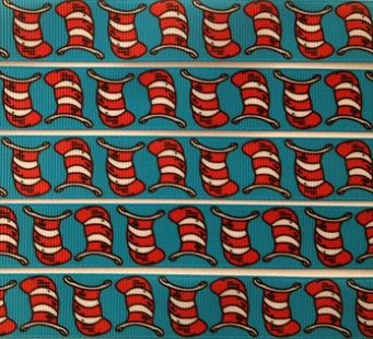 Cat in the Hat Self Adhesive Scrapbooking Ribbon - Blue