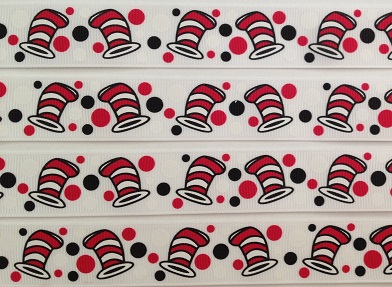 Cat in the Hat Self Adhesive Scrapbooking Ribbon - White