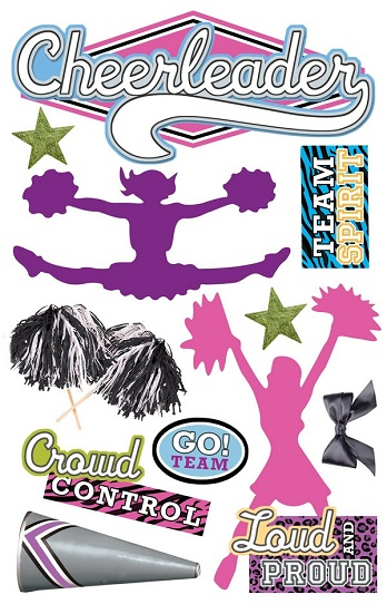 Cheerleader 3D Scrapbooking Glitter Stickers