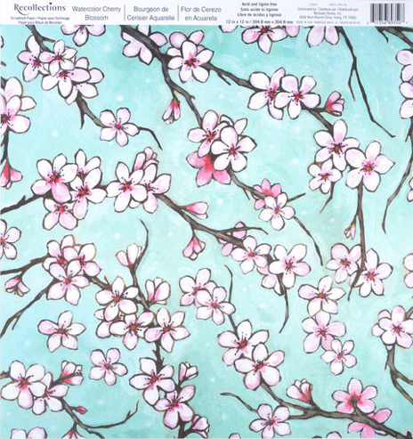 Watercolour Cherry Blossom 12x12 Scrapbooking Paper