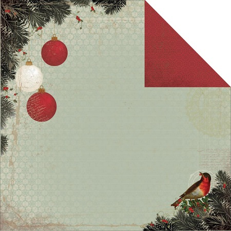 Christmas Robin 12x12 Double Sided Scrapbooking Paper