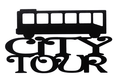 City Tour Scrapbooking Laser Cut Title with Bus