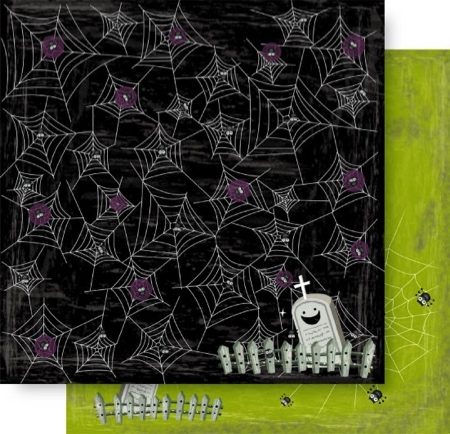 Cobwebs 12x12 Double Sided Glittered Scrapbooking Cardstock