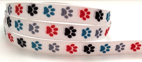 Colourful Paw Prints Self Adhesive Scrapbooking Ribbon