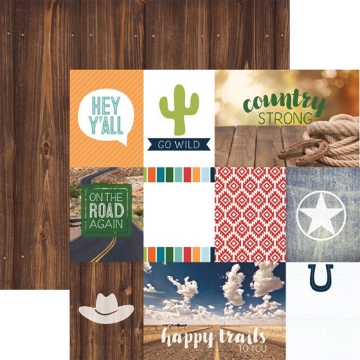 Country Strong 12x12 Double Sided Scrapbooking Paper