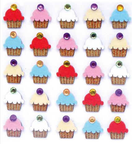 Cupcakes Glittered Jolees 3D Scrapbooking Stickers