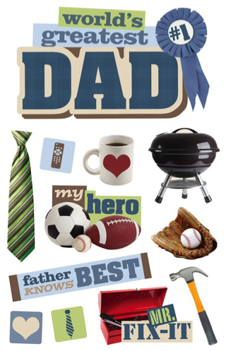 Greatest Dad 3D Glitter Scrapbooking Stickers