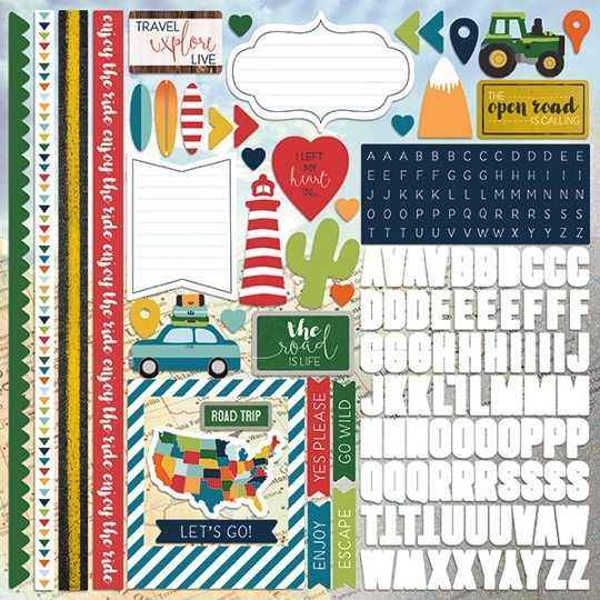 Discover America 12x12 Cardstock Scrapbooking Stickers Borders and Alphabet