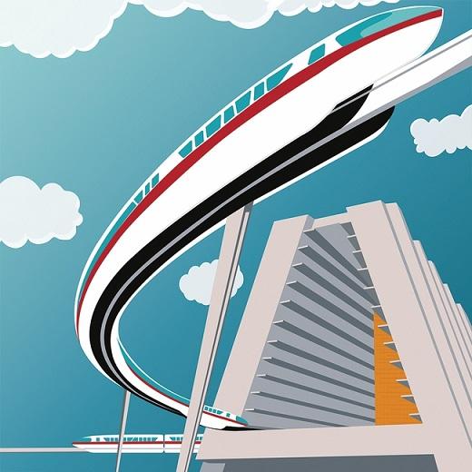 Disney Monorail 12x12 Scrapbooking Paper
