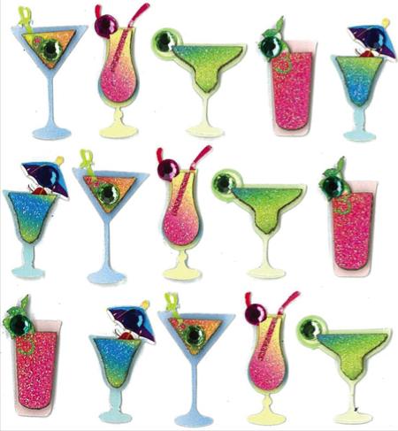 Cocktails Glittered Jolees 3D Scrapbooking Stickers