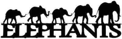 Elephants Scrapbooking Laser Cut Title with Elephants