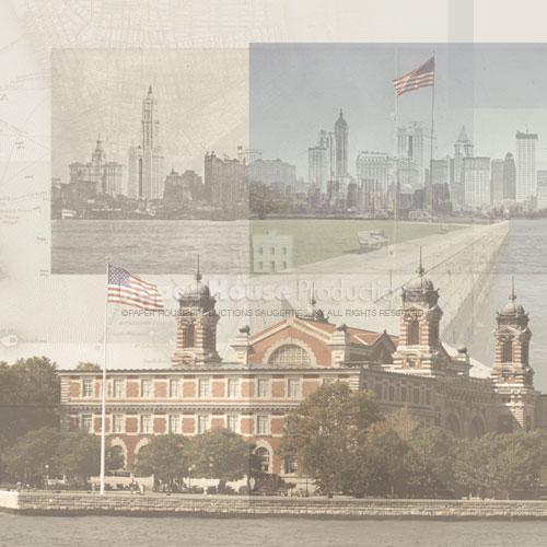 Ellis Island Collage 12x12 Scrapbooking Paper
