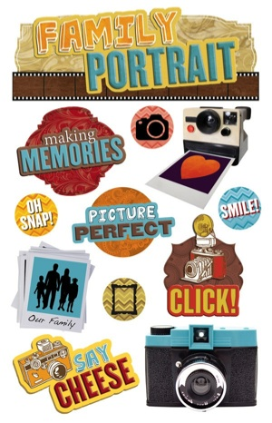 Family Portrait 3D Glitter Scrapbooking Stickers