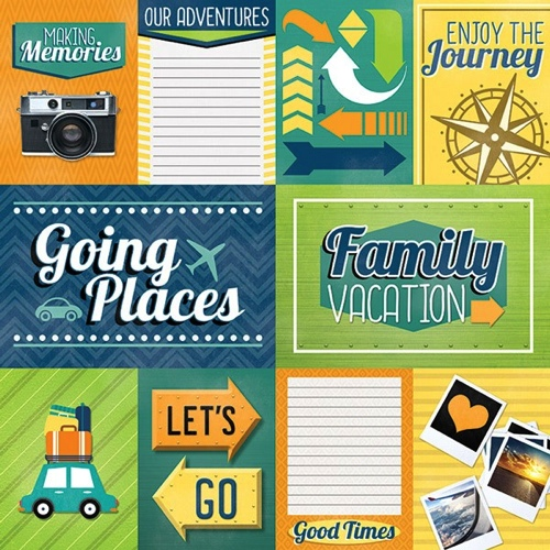 Family Vacation Tags 12x12 Scrapbooking Paper