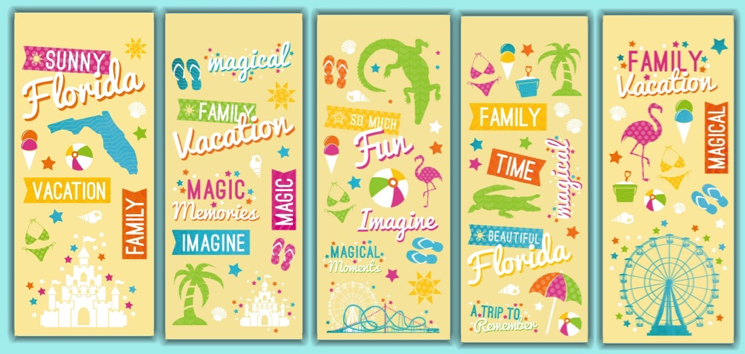 Florida Clear Scrapbooking Stickers - 5 Sheets