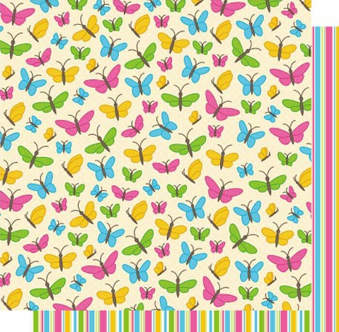 Flutterbys 12x12 Double Sided Glittered Scrapbooking Cardstock