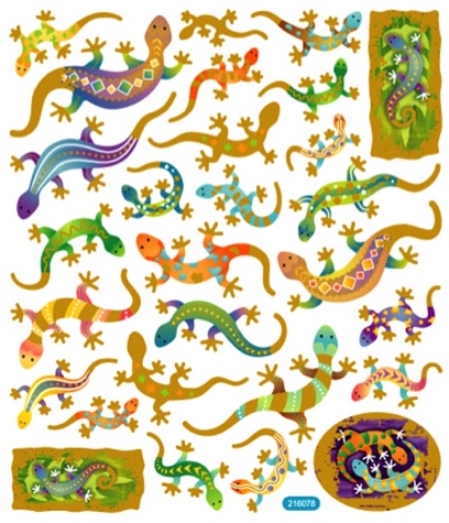 Geckos Shiny Scrapbooking Stickers
