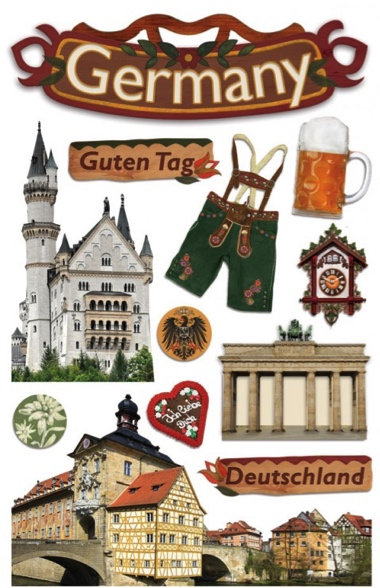 Germany 3D Glitter Scrapbooking Stickers