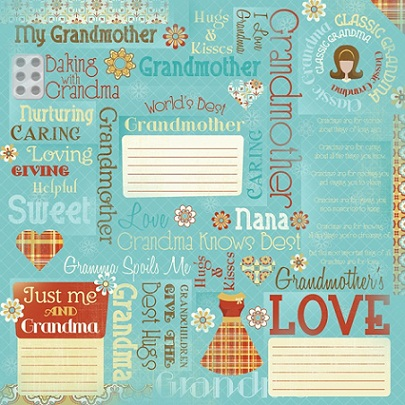 Grandma Collage 12x12 Scrapbooking Paper