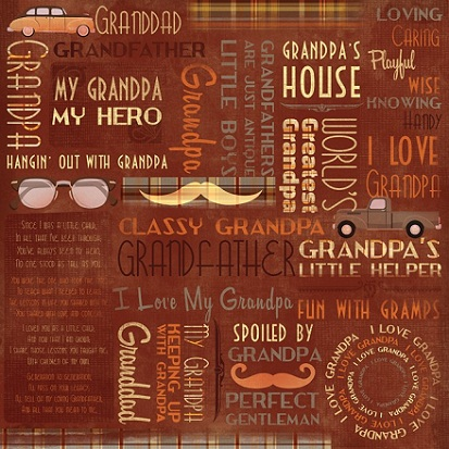 Grandpa Collage 12x12 Scrapbooking Paper