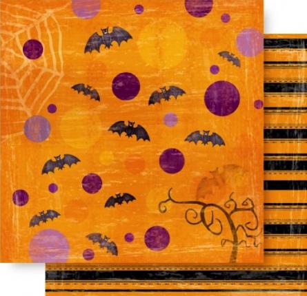 Halloween Orange Sky 12x12 Double Sided Scrapbooking Cardstock