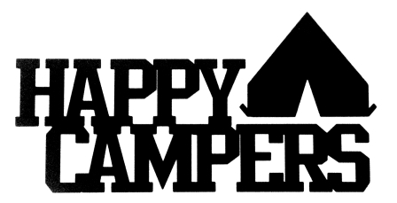 Happy Campers Scrapbooking Laser Cut Title with Tent