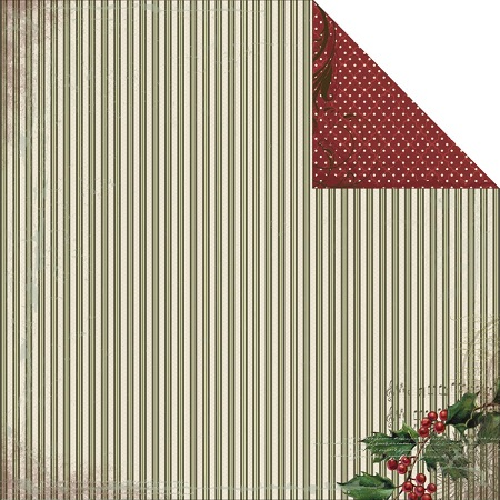 Christmas Holly 12x12 Double Sided Scrapbooking Paper