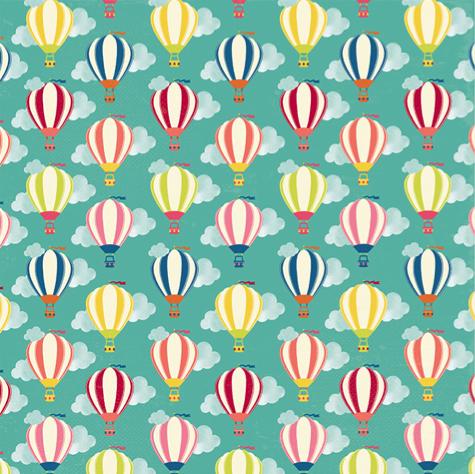 Hot Air Balloons 12x12 Scrapbooking Paper