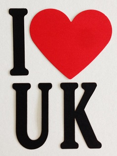 I Heart United Kingdom Scrapbooking Laser Cuts