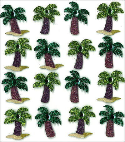Palm Trees Glittered Jolees 3D Scrapbooking Stickers