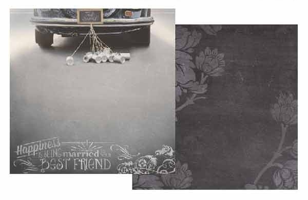 Just Married 12x12 Double Sided Scrapbooking Paper