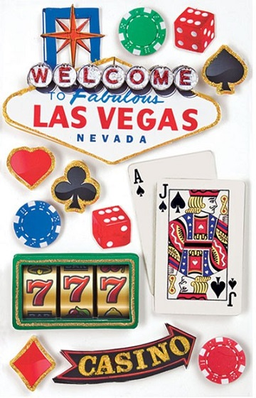 Las Vegas 3D Scrapbooking Stickers with Glitter
