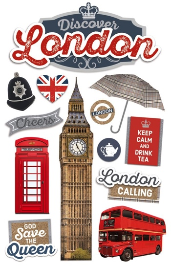 London 3D Glitter Scrapbooking Stickers