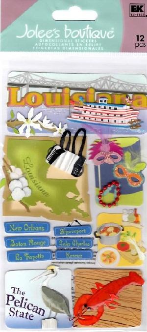 Louisiana Jolees 3D Le Grande Scrapbooking Stickers (large)