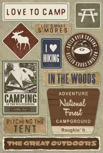 Love to Camp Cardstock Scrapbooking Stickers